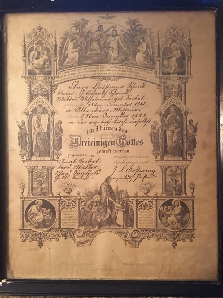 Clara Schmidt baptism certificate