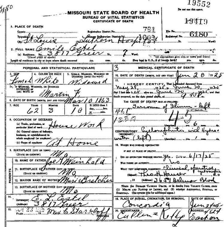 Emilie Estel death certificate
