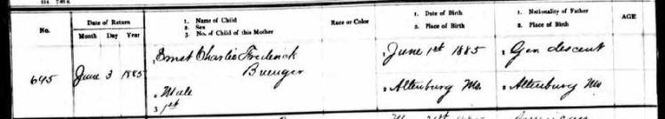 Ernst Friedrich Karl Buenger birth record 1
