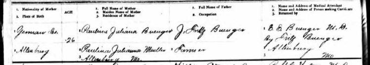 Ernst Friedrich Karl Buenger birth record 2