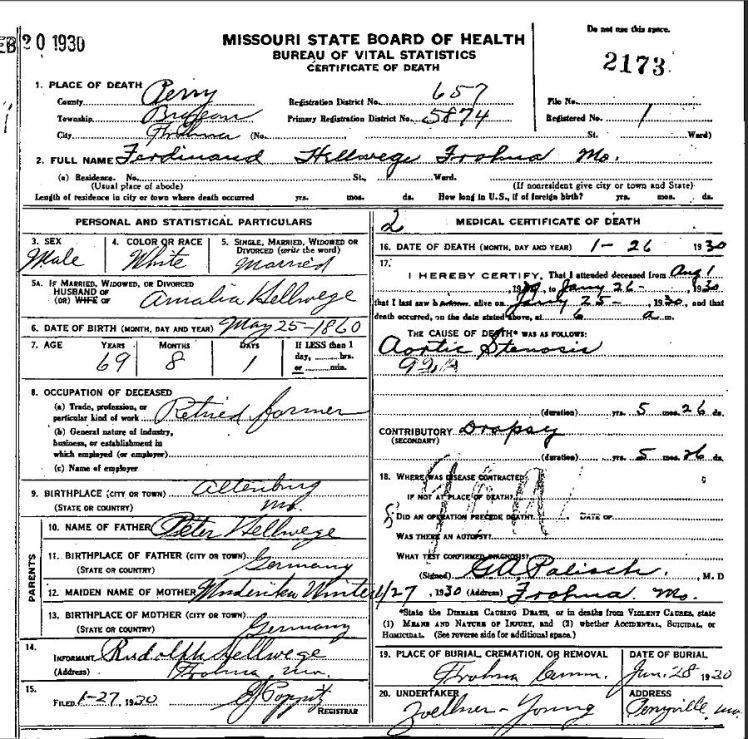 Ferdinand Hellwege death certificate