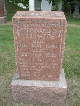 Ferdinand Hellwege gravestone Concordia Frohna MO