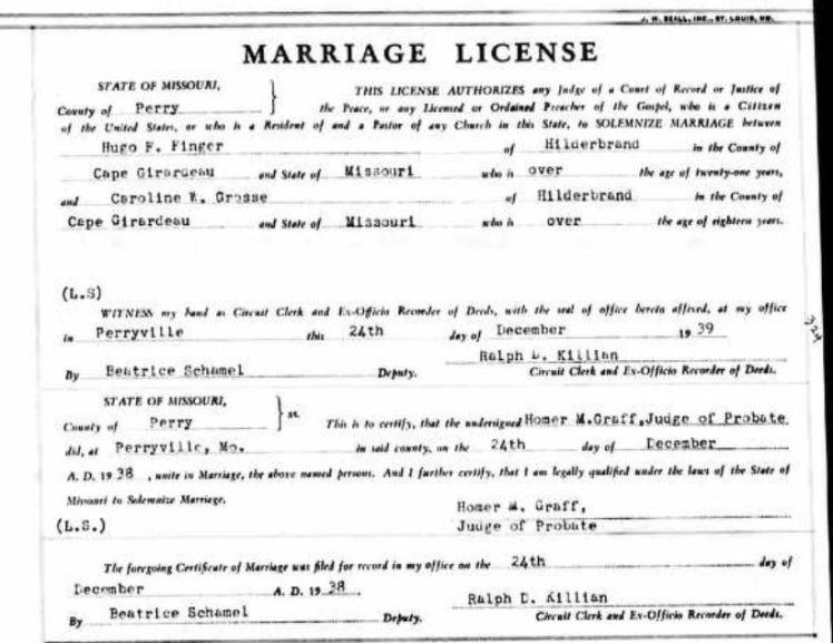 Finger Grosse marriage license