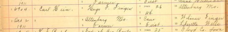 Finger Hein marriage record 1 Iowa