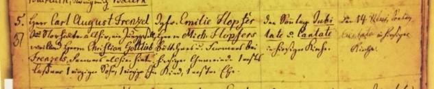 Frentzel Hopfer marriage record Grace Uniontown 1854