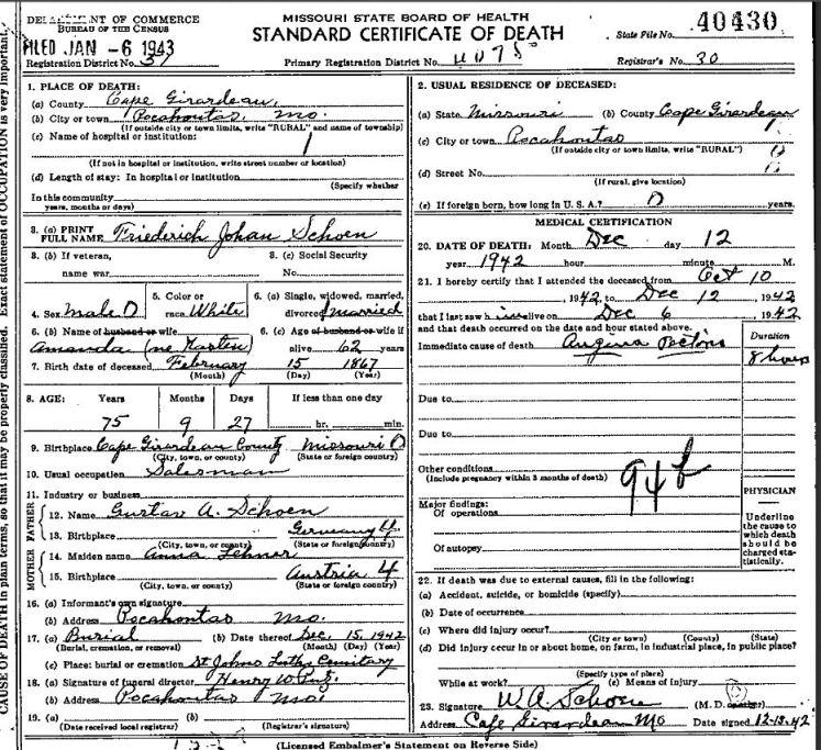 Friedrich Schoen death certificate