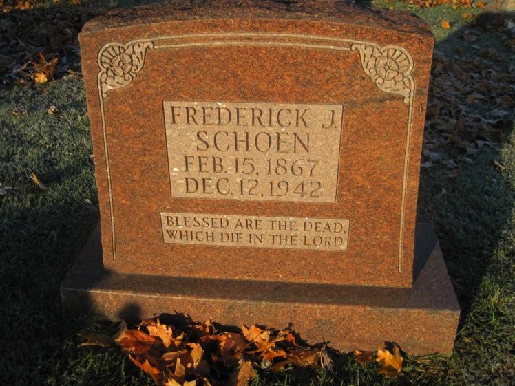 Friedrich Schoen gravestone St. John's Pocahontas MO