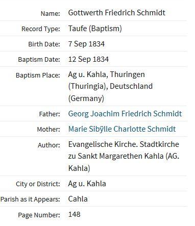 Gottwerth Schmidt baptism record Kahla