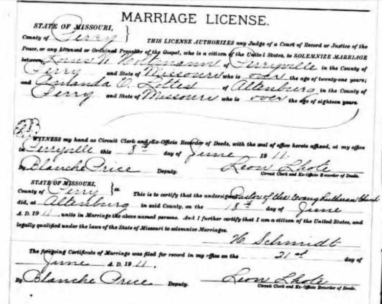 Holtmann Lottes marriage license