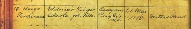 Hugo Finger baptism record 1 Immanuel Altenburg MO