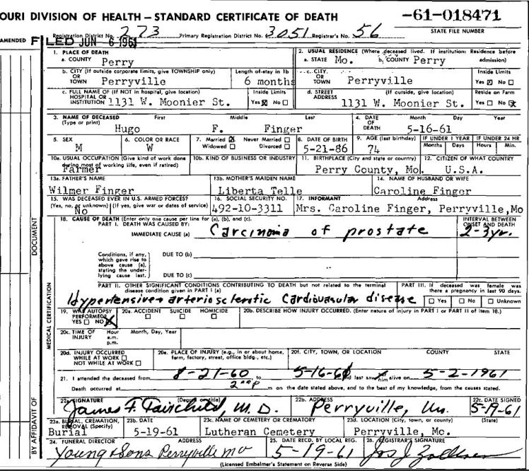 Hugo Finger death certificate