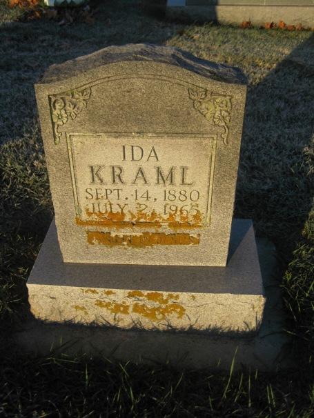 Ida Kraml gravestone St. John's Pocahontas MO