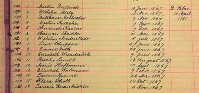 Immanuel New Wells confirmation records 1881