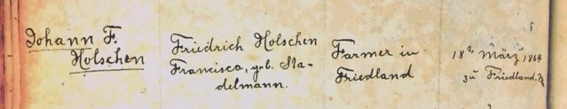 Johann Holschen Rhyne marriage record 1 Immanuel Altenburg