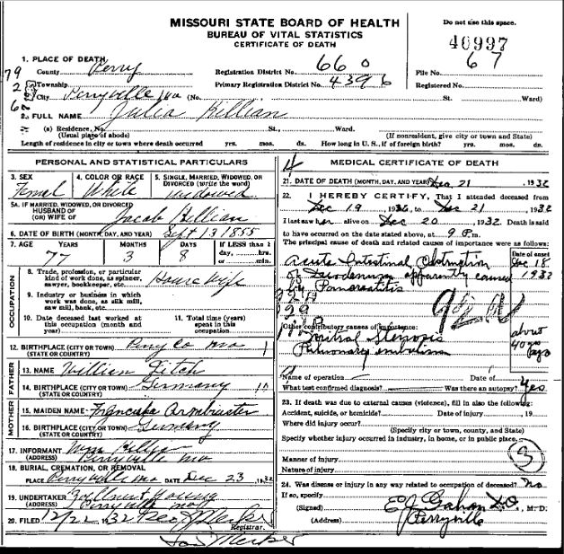 Julia Killian death certificate