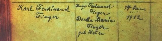 Karl Finger baptism record Immanuel Altenburg MO