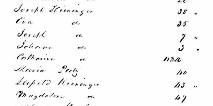 Kieninger passenger list 1858