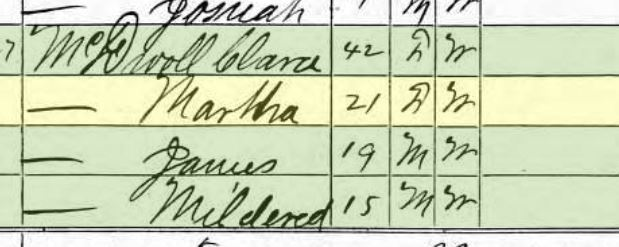 Martha McDowell 1870 census Saline Township Perry MO