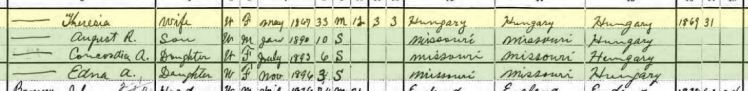 Theresia Kraml Schoen 1900 census Cape County MO