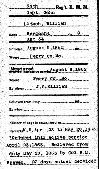 William Litsch military record
