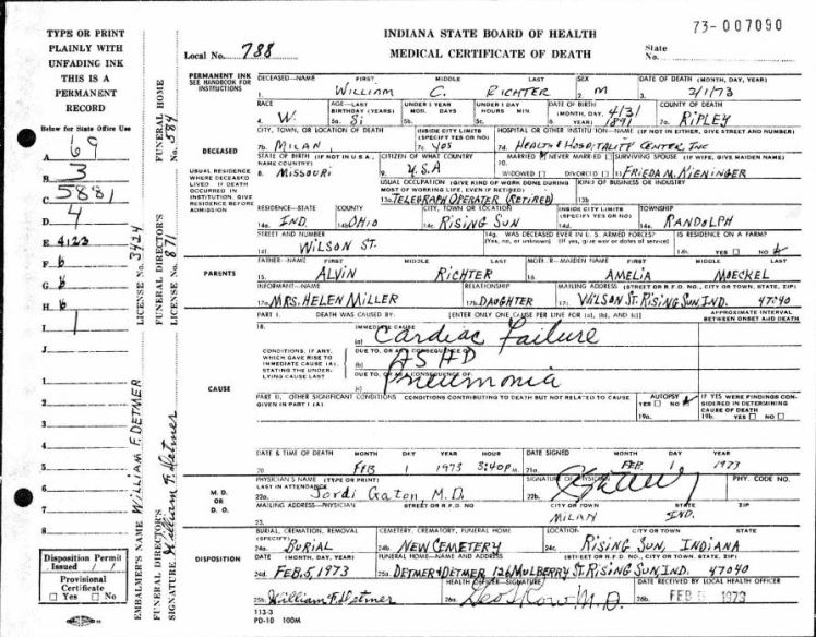 William Richter death certificate Indiana