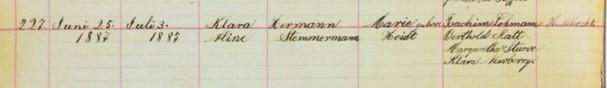 Aline Klara Stemmerman baptism record Salem Farrar MO