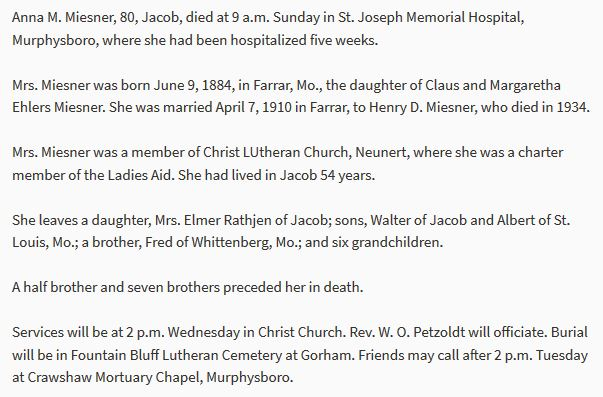 Anna M. Miesner obituary