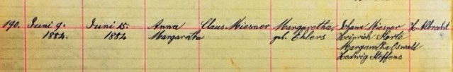 Anna Margaretha Miesner baptism record Salem Farrar MO