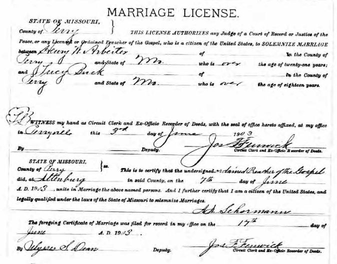 Arbeiter Buck marriage license