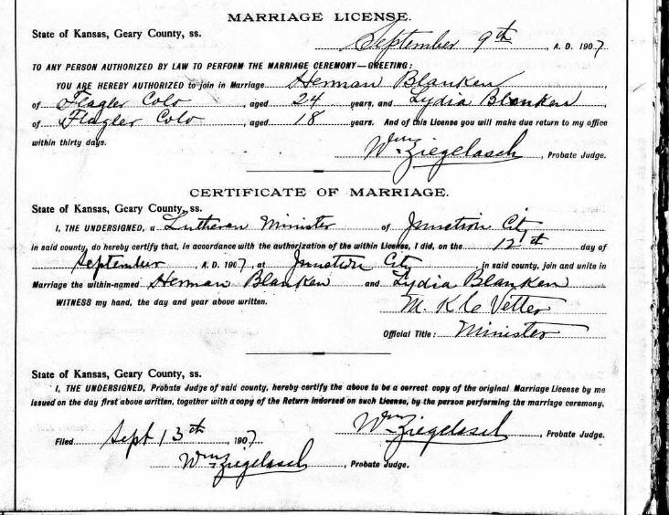 Blanken Blanken marriage license