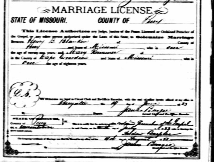 Blanken Riesemer marriage license