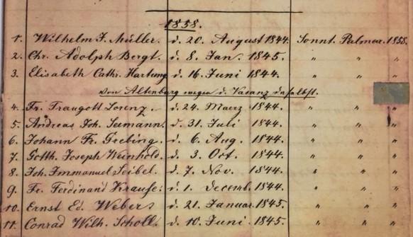 Concordia Frohna confirmation record 1858