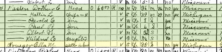 Ella Krueger 1930 census Jackson MO