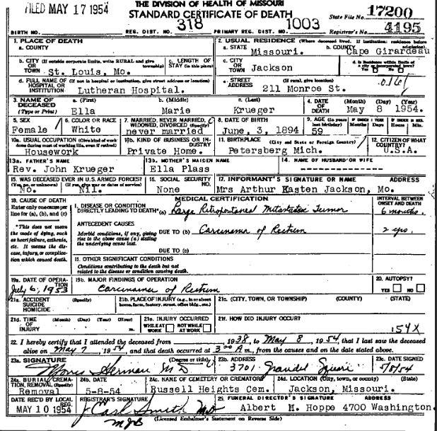 Ella Krueger death certificate