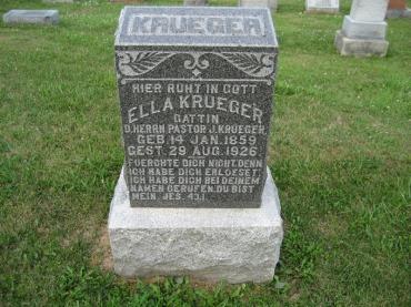 Ella Krueger gravestone Salem Farrar MO