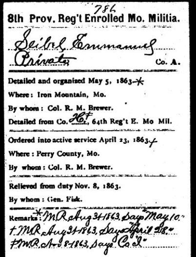 Emanuel Seibel Civil War record 1