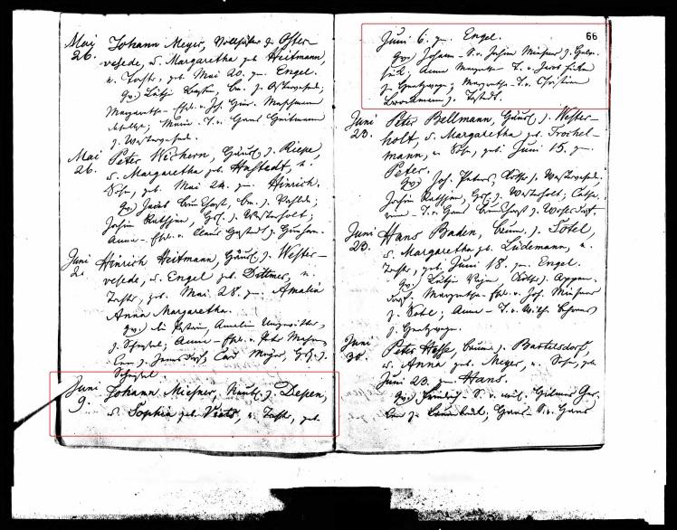 Engel Miesner baptism record Scheezel