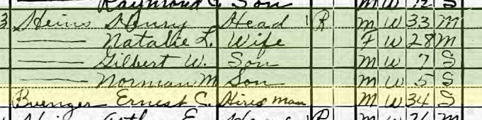 Ernst Buenger 1920 census Jacob IL