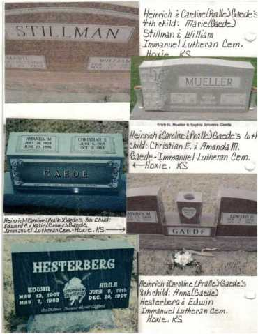 Gaede children gravestones Hoxie KS