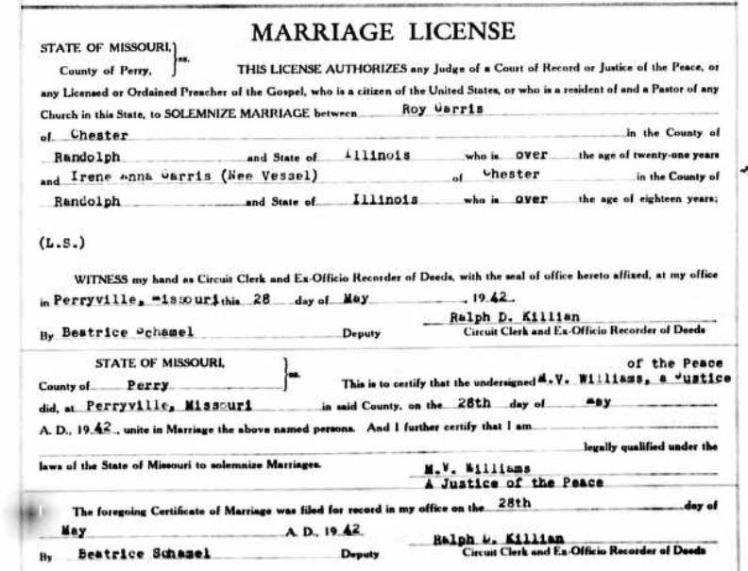 Garris Vessel marriage license
