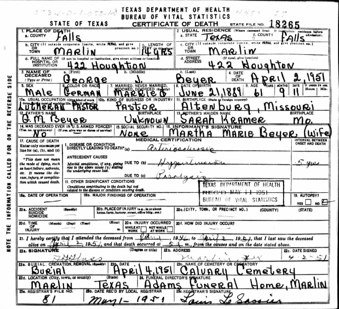 George Beyer death certificate TX