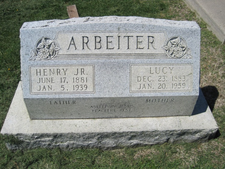 Henry and Lucy Arbeiter gravestone Christ Jacob IL