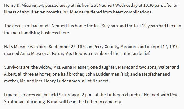 Henry Miesner obituary