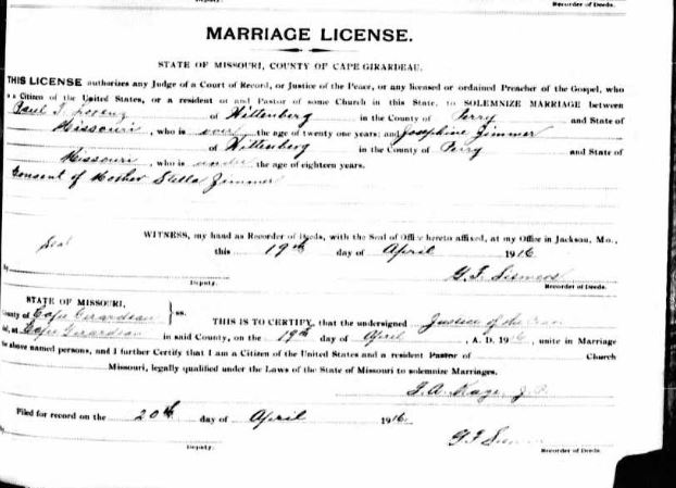 Lorenz Zimmer marriage license