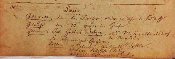 Louis Jahn baptism record Trinity Altenburg
