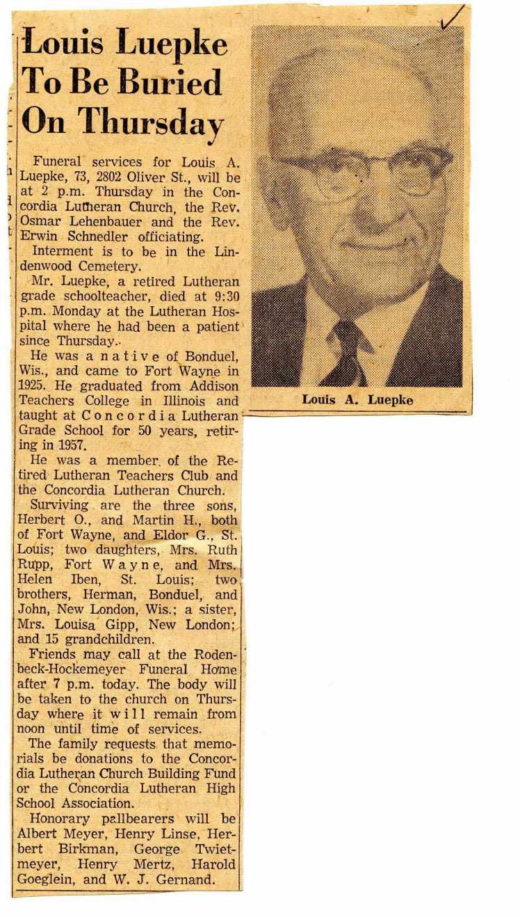 Louis Luepke obituary