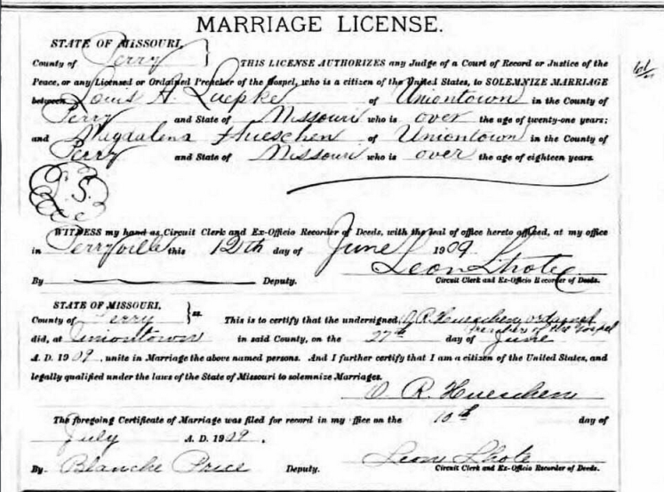 Luepke Hueschen marriage license