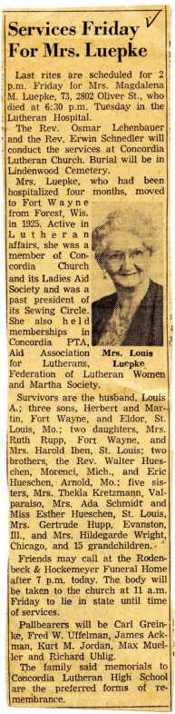 Magdalena Hueschen obituary