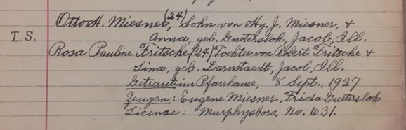 Miesner Fritsche marriage record Christ Jacob IL