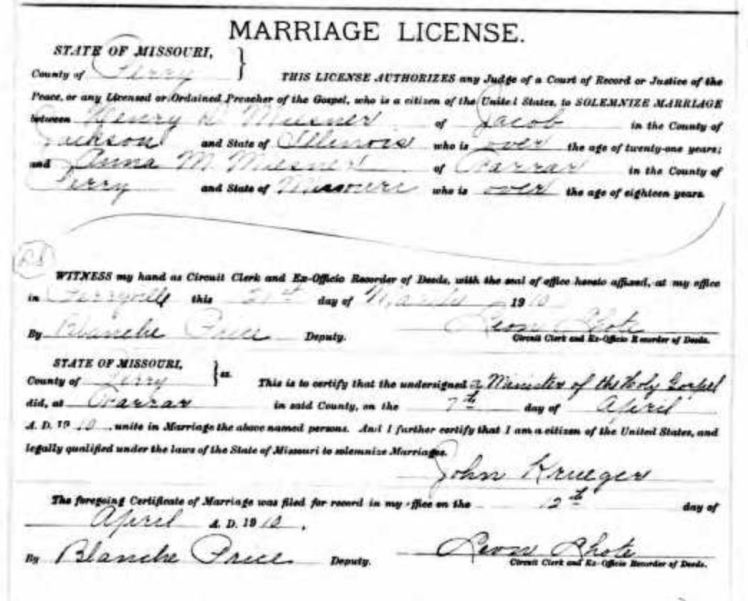 Miesner MIesner marriage license